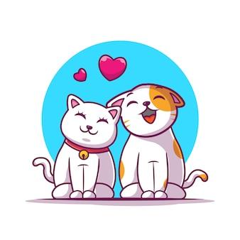 Couple de chats tombent amoureux icône. chat et amour, icône animale blanc isolé
