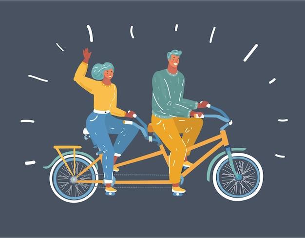 Couple à cheval sur vélo tandem