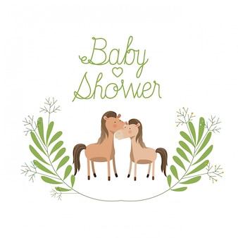 Couple de chevaux mignons avec carte de douche de bébé guirlande