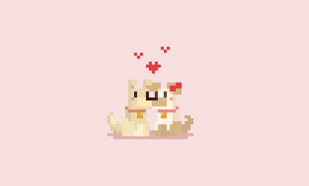 Couple de chien pixel avec coeurs. la saint valentin.