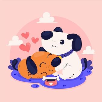Couple de chiens de la saint-valentin dessinés à la main