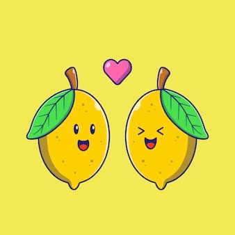 Couple de citron dessin animé mignon en amour plat