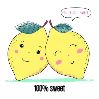 Couple de citron mignon pour la saint-valentin