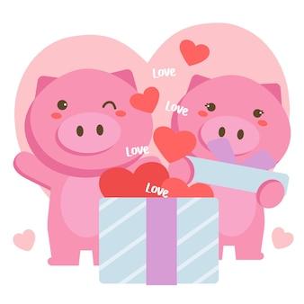 Couple de cochons romantiques célébrant la saint-valentin avec une grande boîte-cadeau