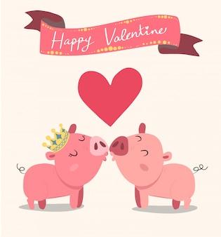 Couple de cochons roses s'embrasser