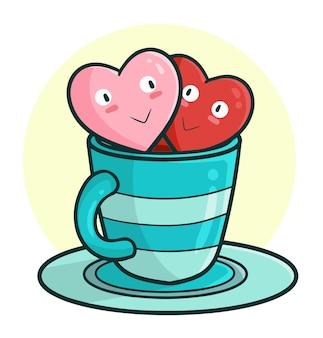 Couple de coeurs aimants drôle et mignon sur la tasse dans le style de doodle kawaii