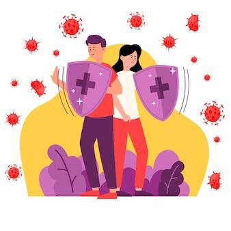 Couple, combat, ensemble, contre, virus