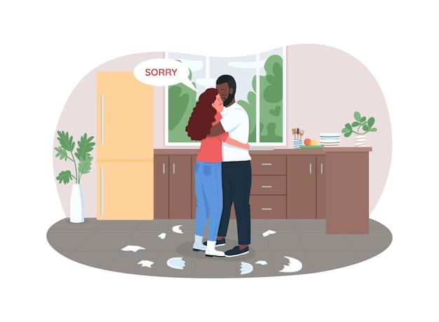 Couple compose après illustration de combat