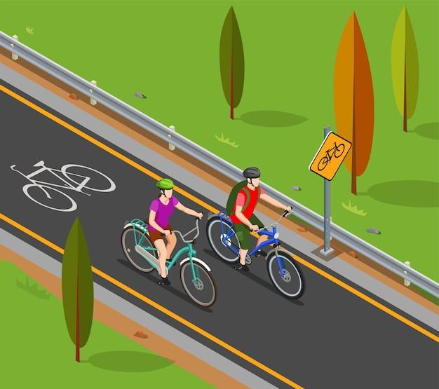 Couple de composition isométrique du tourisme à vélo pendant la balade à vélo sur la piste cyclable