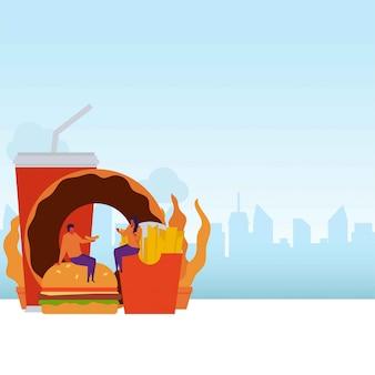 Couple de concept de vecteur de malbouffe plat s'asseoir et manger des fast food.