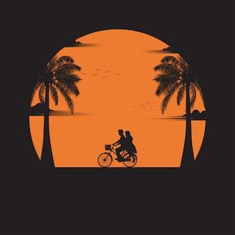 Couple, conduire, bicyclette