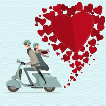 Couple conduisant un scooter chérie. icône plate moderne pour le voyage.