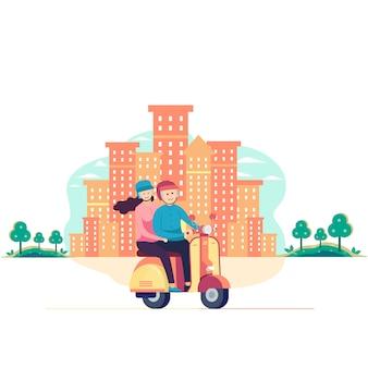 Couple conduisant un scooter dans la ville