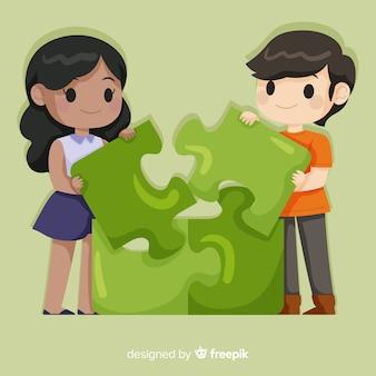 Couple connectant fond de pièces de puzzle