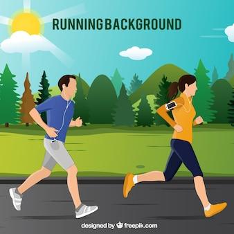 Couple courir dans l'arrière-plan du parc