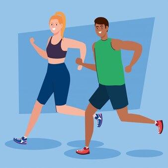 Couple en cours d'exécution, concept de loisirs sportifs