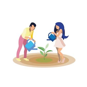 Couple, croissant, plante, illustration