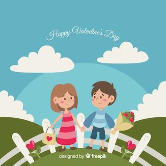 Couple, dans, les, champ, valentine, fond