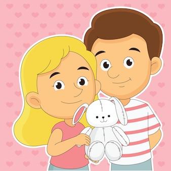 Couple dans les coeurs pour la saint-valentin