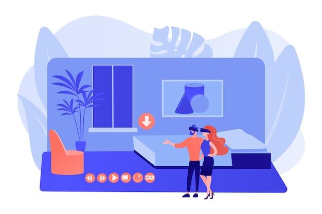 Couple dans des lunettes vr. simulation de réalité virtuelle de propriété. visite virtuelle de l'immobilier, visite virtuelle de la maison en vr, visites virtuelles créant un concept de services. illustration isolée de bleu corail rose