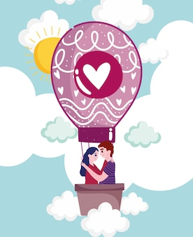 Couple dans une montgolfière