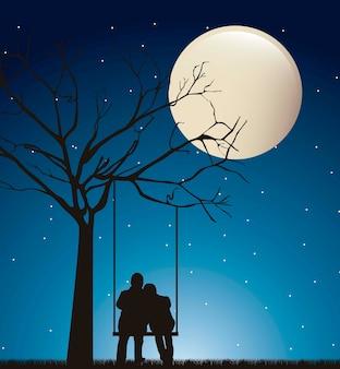 Couple dans la nuit au cours de la balançoire avec illustration vectorielle lune