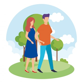 Couple dans les personnages du parc