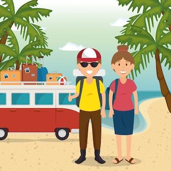 Couple dans les personnages de la plage