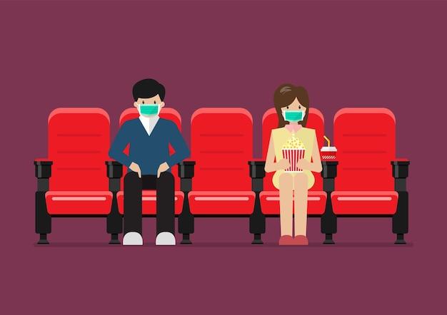 Couple dans le style de vie du cinéma après la pandémie du virus corona covid-19.