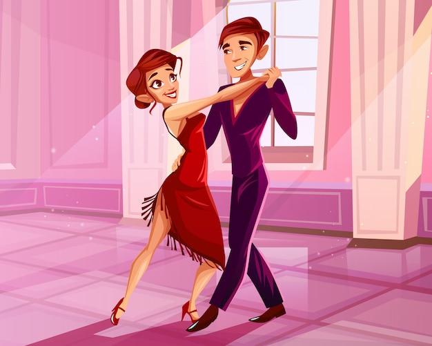 Couple, danse, dans, salle bal, illustration, de, tango, danseur homme et femme en robe rouge