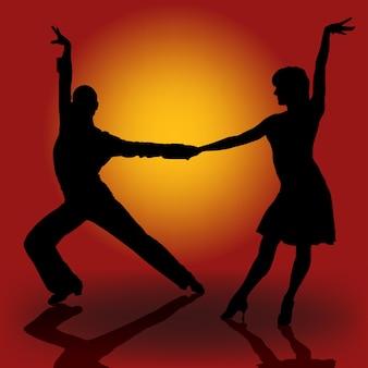 Couple de danseurs latins silhouetté