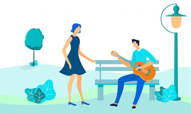 Couple, sur, date extérieure, plat, illustration vectorielle