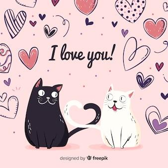 Couple de chats fond Saint Valentin