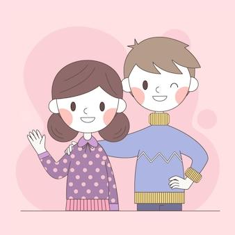 Couple debout ensemble et sourire