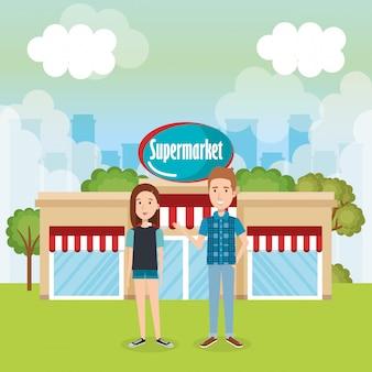 Couple, dehors, supermarché, bâtiment, scène