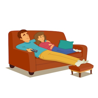 Couple, délassant, sofa, regarder, tv
