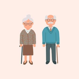 Couple de dessin animé âgé, grand-mère et grand-père isolé