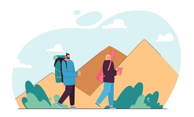 Couple de dessin animé à l'aventure ensemble