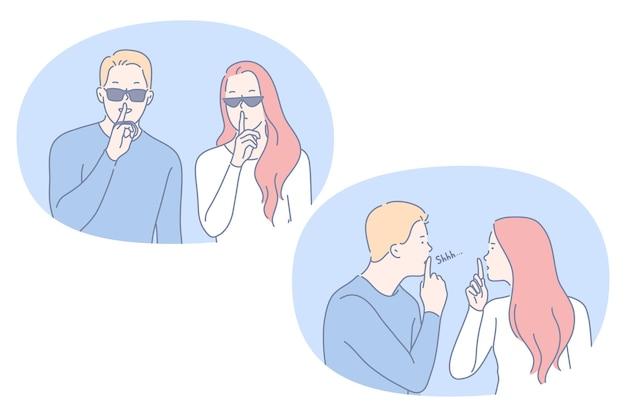 Couple, dessin animé, caractères, tenue, doigt, lèvres, projection, signe silence