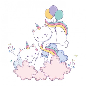 Couple de dessin animé de chat licorne