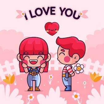 Couple de dessin animé dessiné à la main amoureux