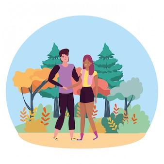 Couple de dessin animé femme et homme