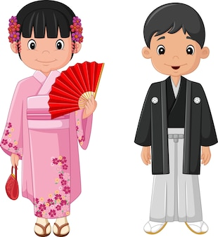 Couple de dessin animé japonais en costume traditionnel