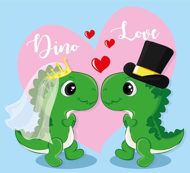 Couple de dessin animé mignon de dinosaures amoureux. joyeux saint valentin dessin animé doodle illustration vectorielle