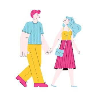 Couple de dessin animé mignon marchant tout en se tenant la main isolé