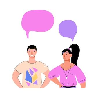 Couple de dessin animé parlant des gens avec des modèles de bulles de discours vierges