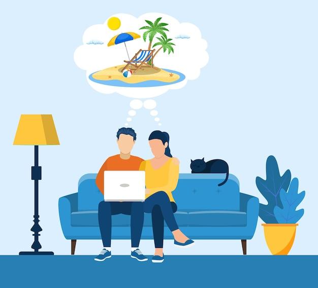 Couple de dessin animé rêve de voyager