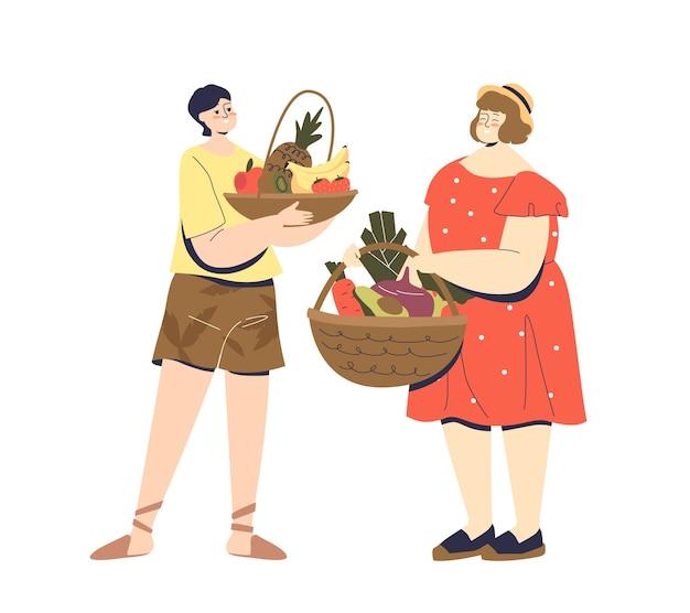 Couple de dessin animé tenant des paniers de fruits et légumes frais biologiques.