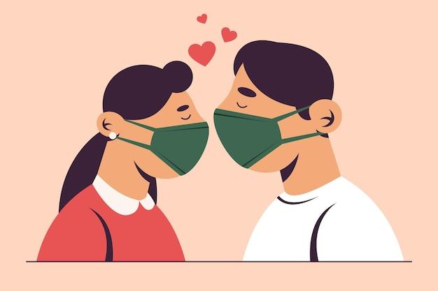 Couple dessiné à la main s'embrassant avec illustration de masque de covid