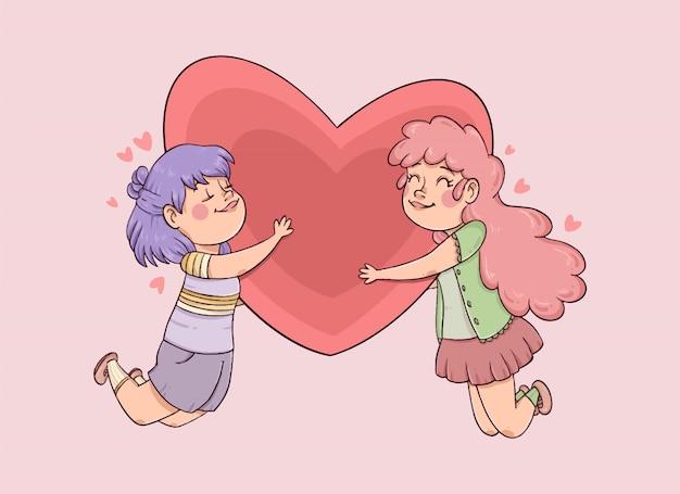 Couple dessiné main tenant un grand coeur